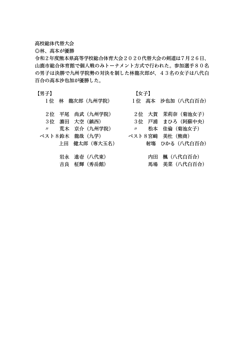 2020 総体 熊本 高校